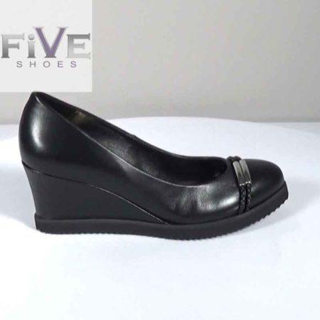 Γυναικεία Πλατφόρμα Five Shoes Δέρμα Μαύρο G1681.B-55.D Ύψος τακουνιού 7cm