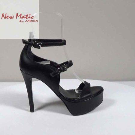 Γυναικείο Πέδιλο New Matic Δέρμα Μαύρο H221.259.D Ύψος τακουνιού 12