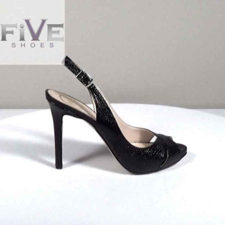 Γυναικείο Πέδιλο Five Shoes Δέρμα-σαύρα Μαύρο H721.4006.DSR Ύψος τακουνιού 11cm