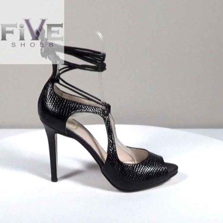 Γυναικείο Πέδιλο Five Shoes Δέρμα-σαύρα Μαύρο H721.4025.DSR Ύψος τακουνιού 10