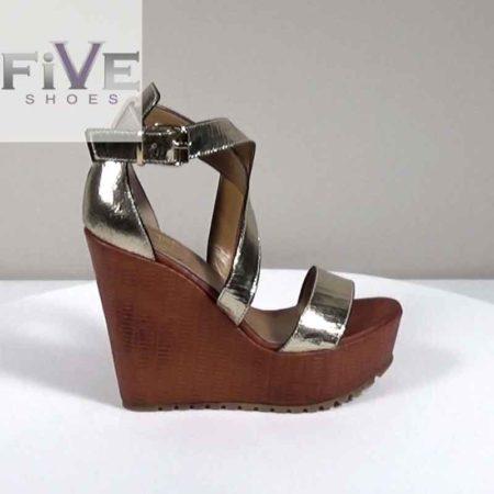 Γυναικεία Πλατφόρμα Five Shoes Δέρμα κρακελέ-δέρμα Πλατίνα-Ταμπά H721.1312.DCRD Ύψος τακουνιού 13cm