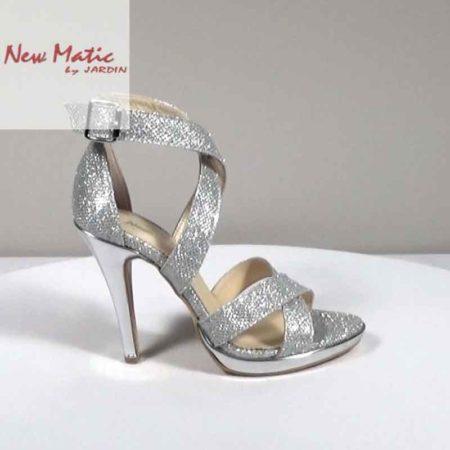 Γυναικείο Πέδιλο New Matic Ύφασμα Ασημί H221.283.P Ύψος τακουνιού 11cm