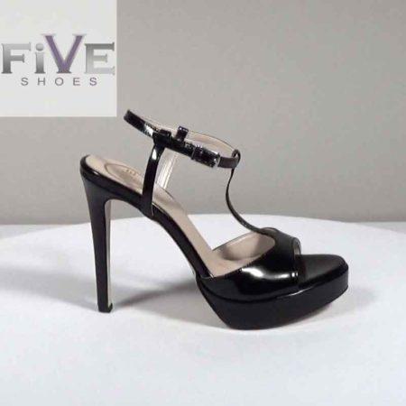 Γυναικείο Πέδιλο Five Shoes Λουστρίνι Μαύρο H721.3711.LR Ύψος τακουνιού 12