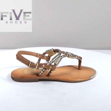 Γυναικείο Σανδάλι Five Shoes Δέρμα Χρυσό-Ταμπά H1801.15120.D