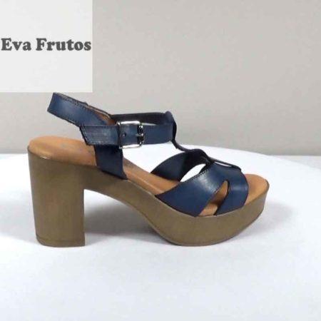 Γυναικείο Πέδιλο Eva Frutos Δέρμα Μπλε H1471.6801.D Ύψος τακουνιού 9cm
