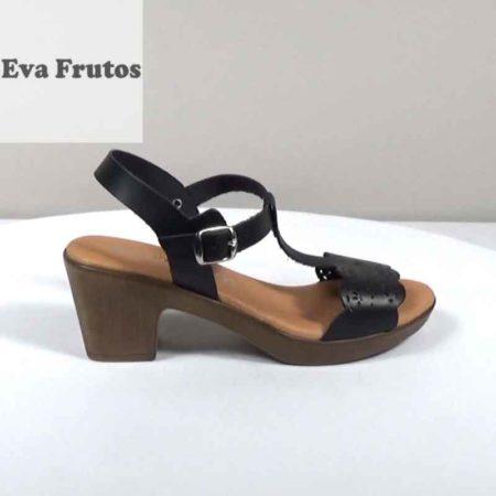 Γυναικείο Πέδιλο Eva Frutos Δέρμα Μαύρο H1471.6471.D Ύψος τακουνιού 6