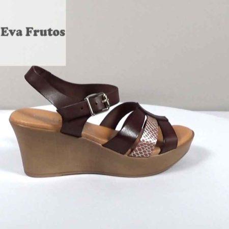 Γυναικεία Πλατφόρμα Eva Frutos Δέρμα Καφέ-Ταμπά H1471.5702.D Ύψος τακουνιού 7cm