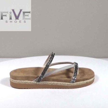 Γυναικείο Σανδάλι Five Shoes Καστόρι-strass Γκρι H1681.102.KSTR