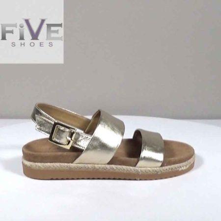 Γυναικείο Σανδάλι Five Shoes Δέρμα μεταλ. Χρυσό H1681.105.DM
