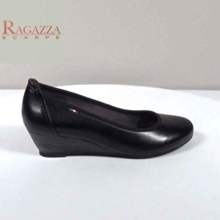 Γυναικεία Σφήνα Ragazza Δέρμα Μαύρο I241.054.D Ύψος τακουνιού 4