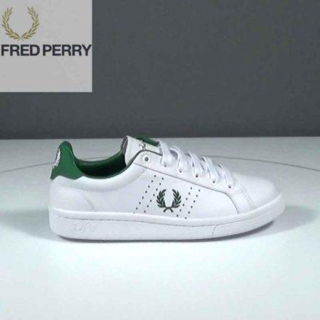 Γυναικείο Χαμηλό Casual Fred Perry Δέρμα Λευκό-Πράσινο J1591.B7211.D