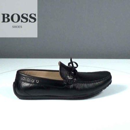 Ανδρικό Μοκασίνι Boss Shoes Δέρμα γκοφρέ Μαύρο J202.G5253.DG