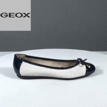 Γυναικεία Μπαλαρίνα Geox Δέρμα τρυπητό-λουστρίνι Λευκό-Μπλε J1081.D62M4A.DTRLR