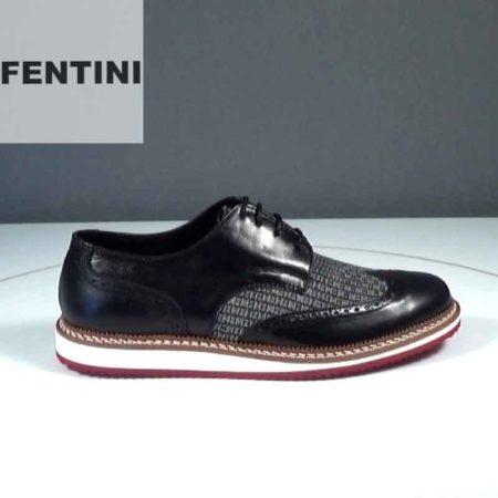 Ανδρικό Παπούτσι Δετό Fentini Δέρμα-ύφασμα Μαύρο-Γκρι J552.0039-844-420-843.DP