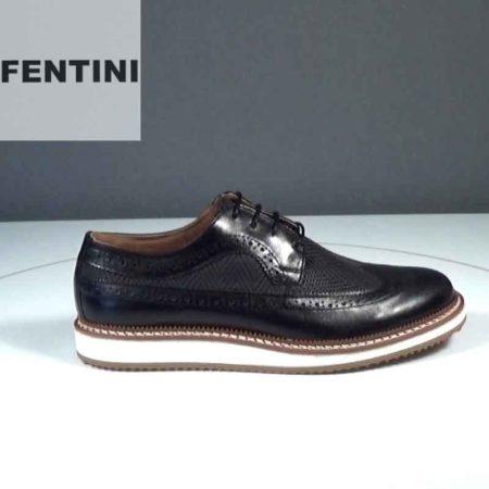 Ανδρικό Παπούτσι Δετό Fentini Δέρμα-δέρμα σταμπωτό Μαύρο J552.0008LD-834-420-554.D