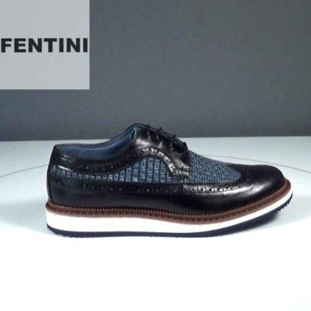 Ανδρικό Παπούτσι Δετό Fentini Δέρμα-ύφασμα Μαύρο-Jeans J552.0008-837-420-546.DP
