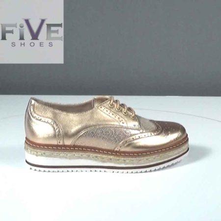 Γυναικείο Παπούτσι Δετό Five Shoes Δέρμα Χαλκός J721.402.D