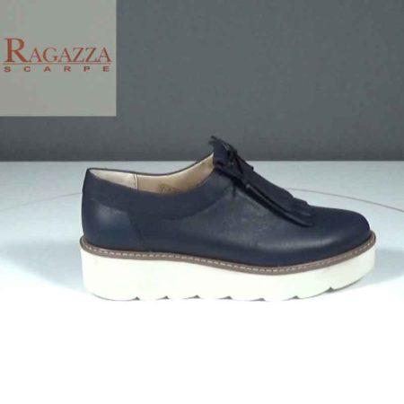 Γυναικείο Παπούτσι Δετό Ragazza Δέρμα Μπλε J241.010.D Ύψος τακουνιού 4cm