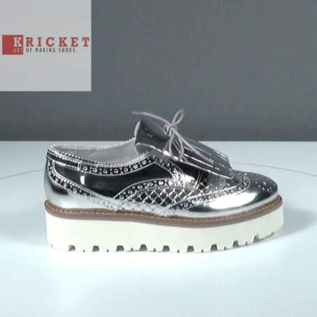 Γυναικείο Παπούτσι Δετό Kricket Δέρμα μεταλ. Ασημί J211.CREAM.DM Ύψος τακουνιού 4cm