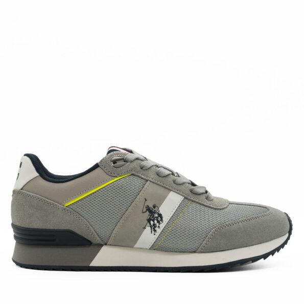 Ανδρικά Sneakers U.S Polo ASSN. Δέρμα-καστόρι-ύφασμα Γκρι-Λευκό R202.AUSTEN2.DKP