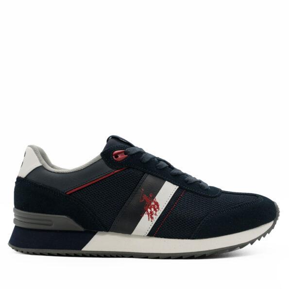 Ανδρικά Sneakers U.S Polo ASSN. Δέρμα-καστόρι-ύφασμα Μπλε-Λευκό-Κόκκινο R202.AUSTEN2.DKP