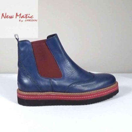 Γυναικείο Μποτάκι New Matic Δέρμα-λάστιχο Μπλε-Μπορντώ G221.201.DL